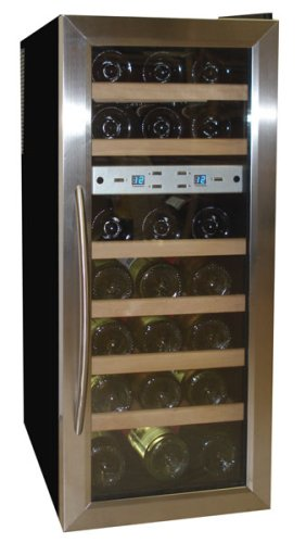 Vinotemp VT-21TEDS Thermo-Electric Digital Dual-Zone 21-Bottle Wine Chiller, Black and Stainless
