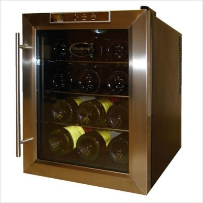 Vinotemp VT-12TEDS Thermo-Electric Digital 12-Bottle Wine Chiller, Black and Stainless
