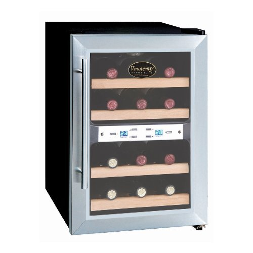 Vinotemp VT-12TEDS-2Z Dual Zone Thermoelectric Wine Cooler, 12-Bottle