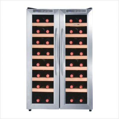 Deluxe 32 Bottles Dual Zone Double Doors Wine Cooler with Wood Shelves