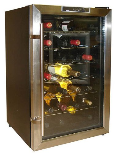 Vinotemp VT-28TEDS Thermo-Electric Digital 28-Bottle Wine Chiller, Black and Stainless
