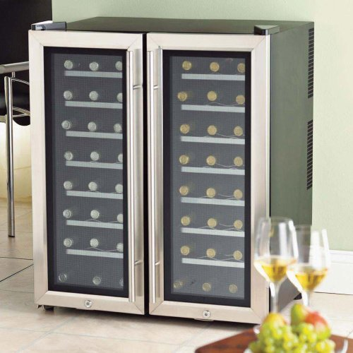 The Wine Enthusiast 48-Bottle 2 Zone Wine Cellar - Stainless Steel