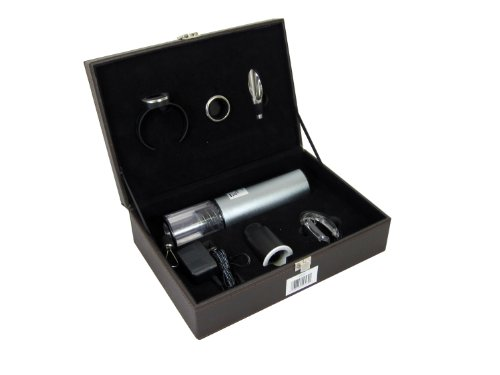 GSI Quality Gorgeous Wine Gift Set, Includes Electric Stainless-Steel Wine Bottle Corkscrew Opener, Foil Cutter, Wine Thermometer, Vacuum Wine Stopper, Wine Pourer And Collar - For The Wine Lover And Connoisseur