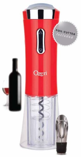 Ozeri Nouveaux II Electric Wine Opener in Red, with Free Foil Cutter, Wine Pourer and Stopper -- Ultimate Wine Gift On Sale